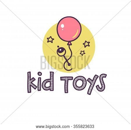 Logo Design For Kid Toys Store, Market, Boutique With Rattle, Air Balloon, Stars Silhouette Isolated