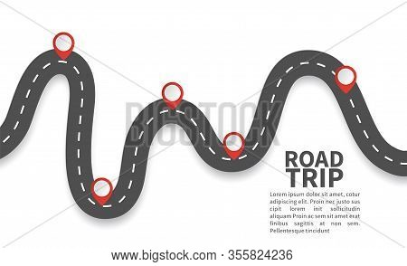 Road With Red Pins. Navigating, Milestone Timeline 3d Map Maps Roads Vector Roadway Graphic Illustra
