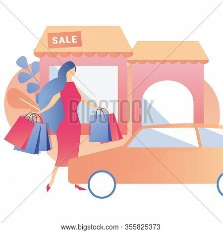 Satisfied Client Flat Banner Woman After Great Black Friday Shopping In Mall Buying Presents Gifts A