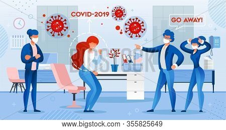 Man Boss Chief Pitch Out Sick Woman Employee Infected With Covid19 Virus Suffering From Cough Viral