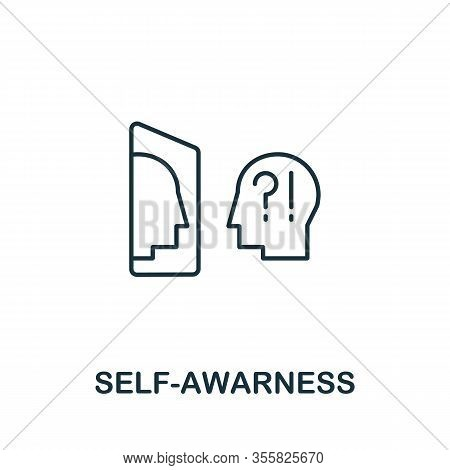 Self-awareness Icon From Life Skills Collection. Simple Line Self-awareness Icon For Templates, Web