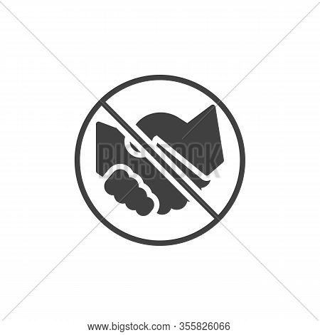 No Handshake Vector Icon. Handshake Ban Filled Flat Sign For Mobile Concept And Web Design. Stop Han
