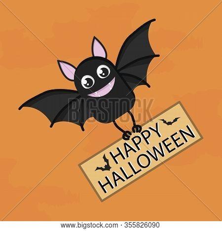 Halloween Bat Banner With A Bat Cartoon Character