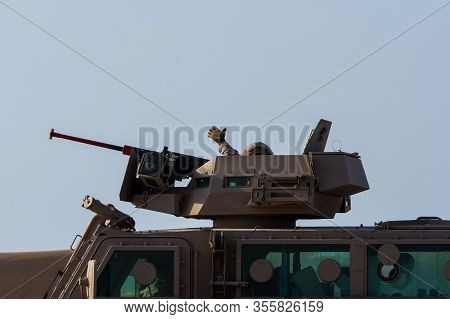 Military Tank Army Vehicle Close Up Of Guns And Military Personel Giving Thumbs Up. Military And War