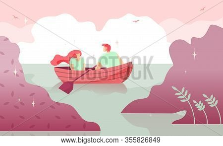 Lovers Man And Woman Boating On River Cartoon. Warm Intimacy Young People. Manifestation Romance For