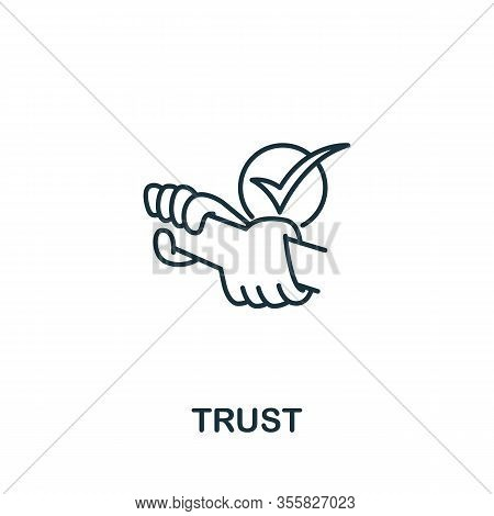 Trust Icon From Teamwork Collection. Simple Line Element Trust Symbol For Templates, Web Design And