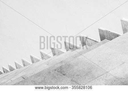 Empty Stone Stairway Near White Wall, Abstract Architectural Background, Black And White Photo