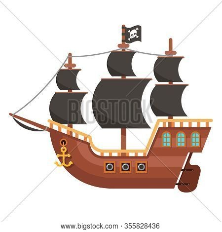 Wooden Pirate Buccaneer Filibuster Corsair Sea Dog Sailing Ship Isolated On White Flat Design Vector
