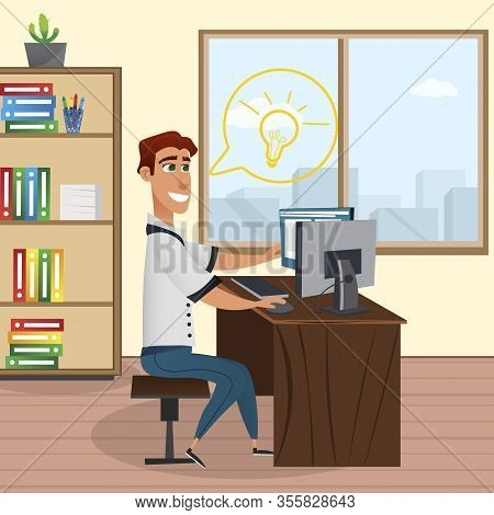 Smiling Man Working Computer In Office. Design Studio. Office Interior. Creative Designer. Book Shel