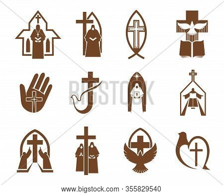 Jesus Cross, Bible And Dove Icons Of Religion Vector Design. Christian And Catholic Churches, Prayer