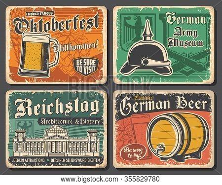 Germany Travel Landmarks And German Oktoberfest Beer Vector Design. Glass, Barrel And Tankard Of Lag