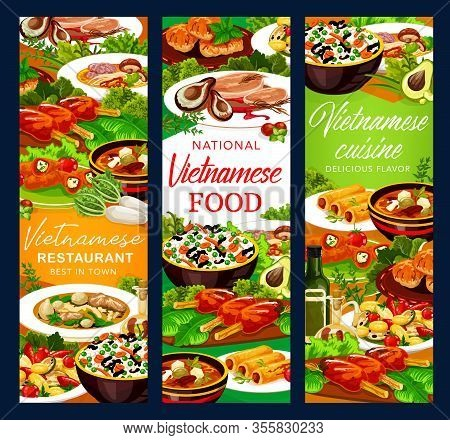 Vietnamese Meat And Fish Dishes With Asian Rice And Vegetables Vector Banners. Grilled Pork Cutlet,