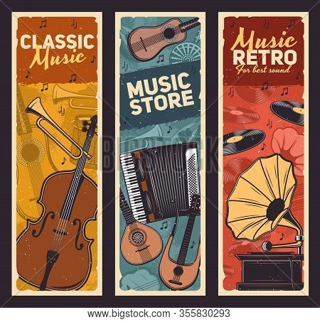 Musical Instruments And Vintage Gramophone, Retro Music Vector Design. Drum, Guitar And Trumpet, Vin