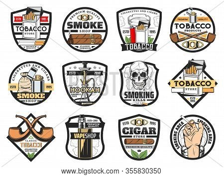 Tobacco Store Badges With Vector Cigarette Packs, Cigars And Smoking Pipes. Tobacco Leaf, Bag And Sm
