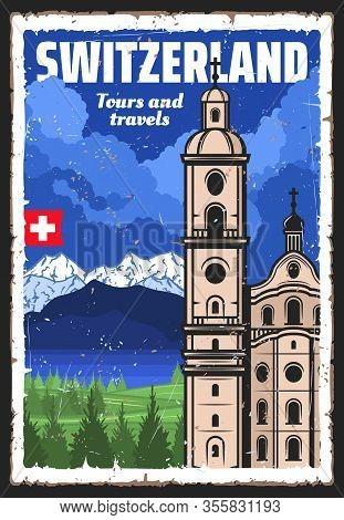 Switzerland Travel Landmark And Swiss Alps Vector Design Of European Tourism. Lucerne Jesuit Church