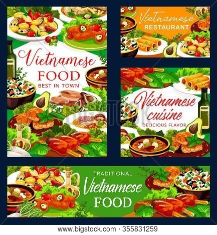 Vietnamese Cuisine Vector Dishes With Baked Fish, Vegetable Rice And Beef Pho Bo, Noodle Mushroom So