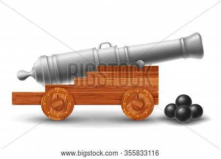 Ancient Ship Cannon On Wooden Carriage With Cannonballs. Isolated On White Background. Vector Illust