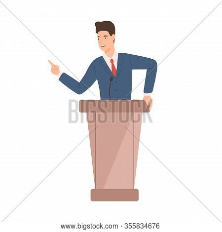 Male Politician In Suit Standing At Rostrum Vector Flat Illustration. Positive Political Candidate G