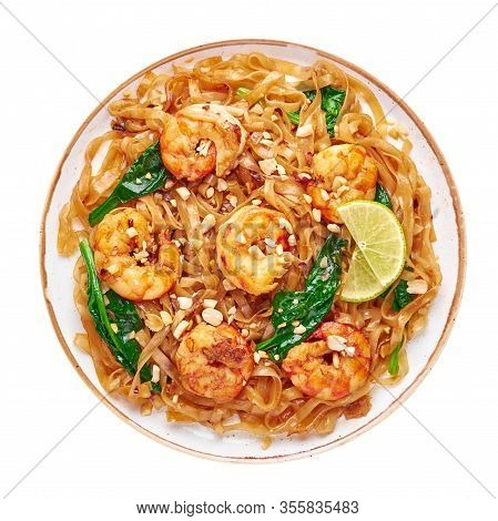 Prawn Pad See Ew Isolated On White Background. Pad See Ew Is Thai Cuisine Dish With Rice Noodles, Pr