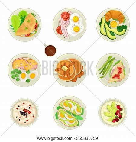Food For Breakfast With Pancakes And Scrambled Eggs Served On Plate Top View Vector Set