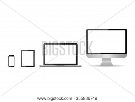 Monitor, Laptop, Tablet, Smartphone Isolated On White Background. Set Of Mockup Devices With White S