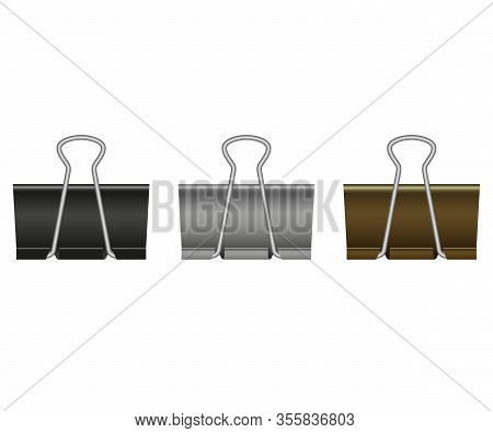 Paper Binder Clips Isolated On White Background. Black, Bronze, Silver, Metal Paper Clip. Stationary