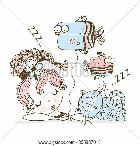 A Cute Girl With Balloons In The Form Of Fish Fell Asleep With A Cat. Vector