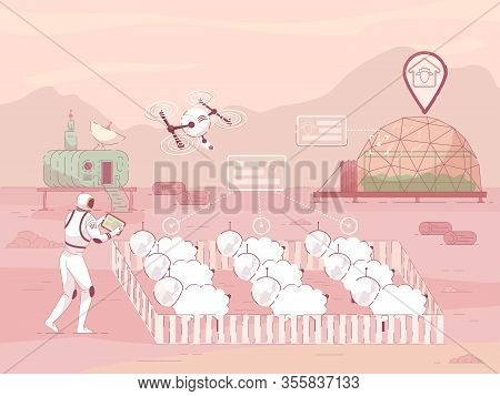 Flat Poster Raising Sheep On Colonized Planet. Farming Colony On Another Planet Is Developing Dynami
