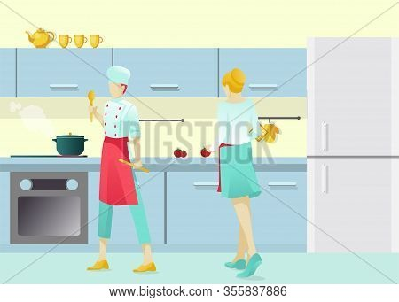 Cartoon Man And Woman Character Cooking Dishes In Kitchen. Restaurant Master-chef Stewing And Helper