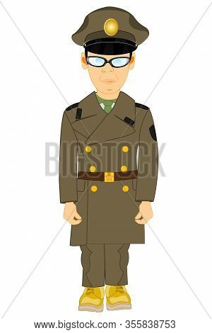 Military In Overcoat On White Background Is Insulated