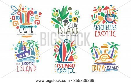 Tropical Exotic Islands Logo Design, Crete, Sicilia, Seychelles, Ibiza Vector Illustration