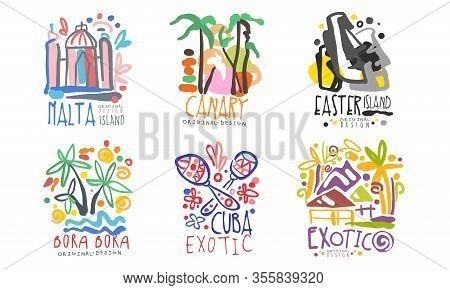 Tropical Exotic Islands Logo Design, Malta, Canary, Easter, Bora Bora, Cuba, Vector Illustration