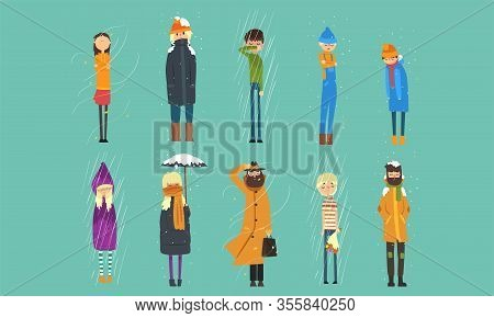 People In Coats Freezing Outside On Cold, Rainy And Windy Day, Autumn And Winter Season Vector Illus