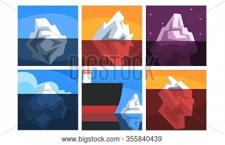 Icebergs Collection, Iceberg Floating On Water With Underwater Part, Beautiful Nothern Landscape Vec