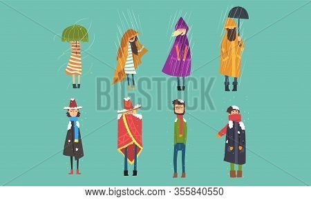 People Freezing Outside On Cold, Rainy And Windy Day, Autumn And Winter Season Vector Illustration