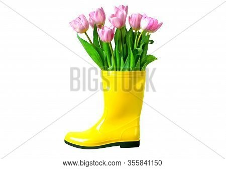 Tulips In The Yellow Rainboot Isolated On White. Cut Out Object.