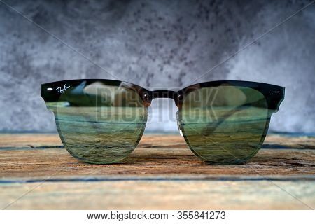 Kharkiv, Ukraine - March 12, 2020: Illustrative Editorial Of The Ray-ban Sunglasses Close-up