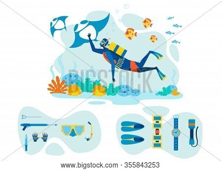 Snorkeling Equipment Flat Vector Illustrations Set. Speargun, Snorkel Spearfishing Tools And Instrum
