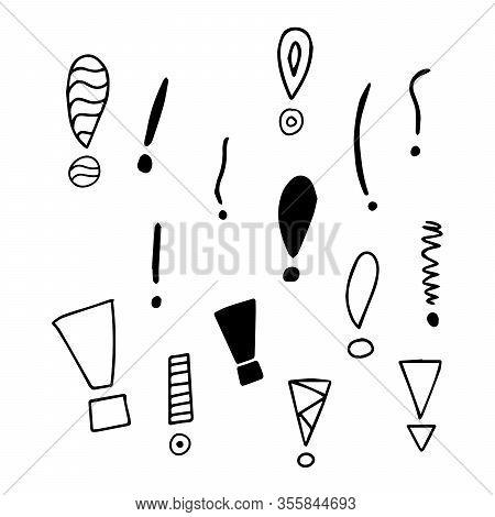 Exclamation Mark. Grunge Doodle Sketch Exclamation Marks Vector Set. Collection Of Exclamation Marks