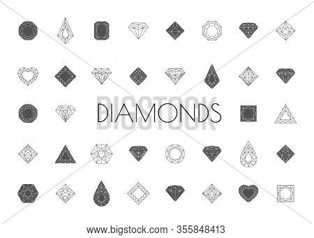 Jewels And Diamonds Collection. Diamonds Gems, Luxury Jewel Gemstones And Precious Gem. Crystal Gems