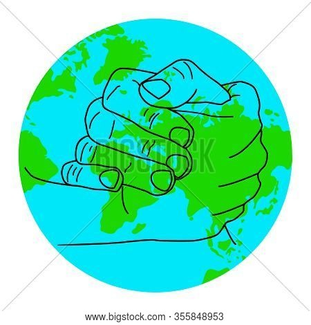 Hands With Globe Earth Web Isolated On White Background. Save Earth Concept. Earth Day Symbol For Ca