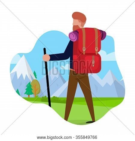 Tourist Travels To Mountains Vector Illustration. Bearded Man Carries Camping Equipment, Rear View.