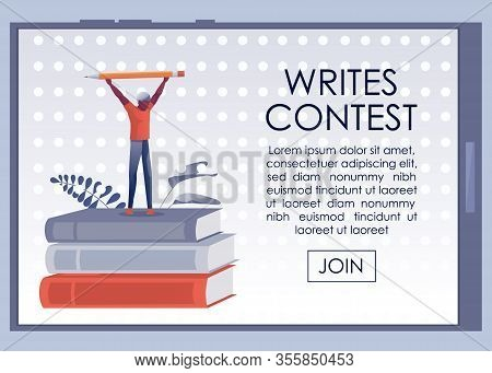 Writes Contest Advertising Poster On Mobile Screen. Cartoon Man Winner Stand On Huge Book Stack Hold