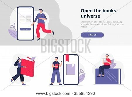 Set Of Banners On E-books And Reading Themes. People Study Online, Read Paper Or Electronic Books On
