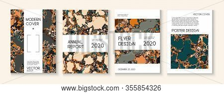 Geographic Map Fluid Paint Vector Cover. Ad Annual Report, Futuristic Folder Template. Brown Red Ear