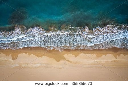Beach And Waves From Top View.  Picture With Drone!