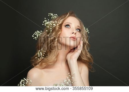 Fiancee Girl With Long Healthy Curly Hairdo On Black Background