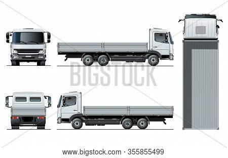 Vector Flatbed Truck Template Isolated On White For Car Branding And Advertising. Available Eps-10 S