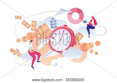 Vector Illustration Solution Urgent Problems. Unforeseen Situations In Workplace. Man And Woman Are