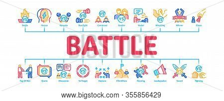 Battle Competition Minimal Infographic Web Banner Vector. Champion Battle, Box And Run Sport Champio